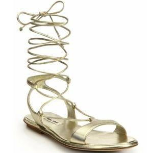 *HOST PICK* Miu Miu Lace-Up Gladiator Sandals, 5